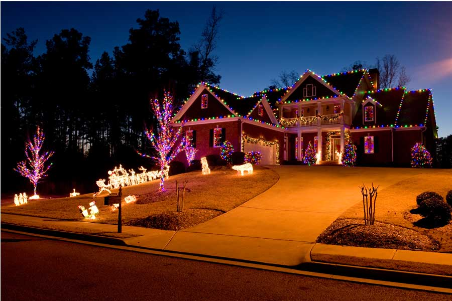 holiday lighting installation